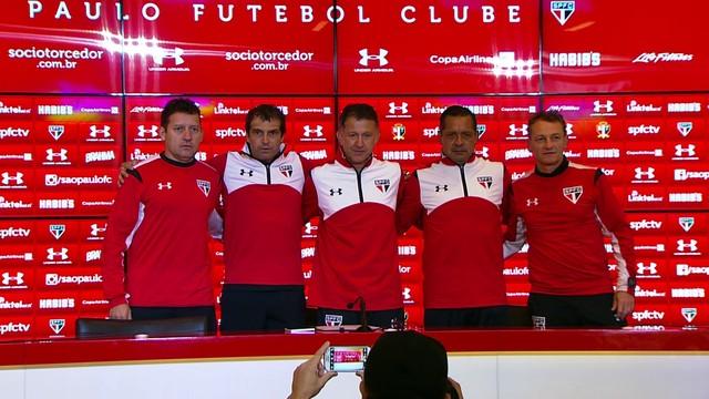 Jorge Rios, Milton Cruz, Juan Carlos Osorio, Luis Pompillo e Ze Mário Campeiz posam para foto (Foto: Marcelo Prado) Globoesporte