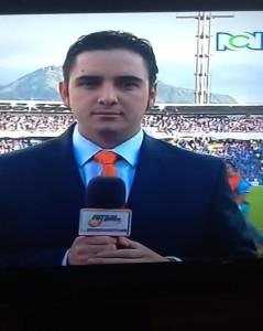 Juan Felipe Mejía, periodista en El Campín.