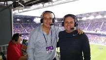 RBNY Radio (Con los audífonos en el estadio) - Junto a Ernesto Motta (argentino) en una de las transmisiones de radio de MLS.