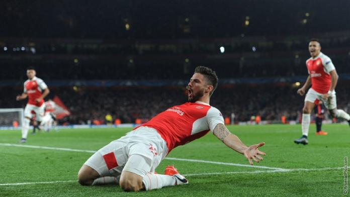 Arsenal dio nueva vida a su campaña de la Champions League con un emocionante y reñida victoria 2 -0 contra el Bayern Munich este martes. Acá el festejo de Giroud. Foto tomada de la página web de Arsenal.