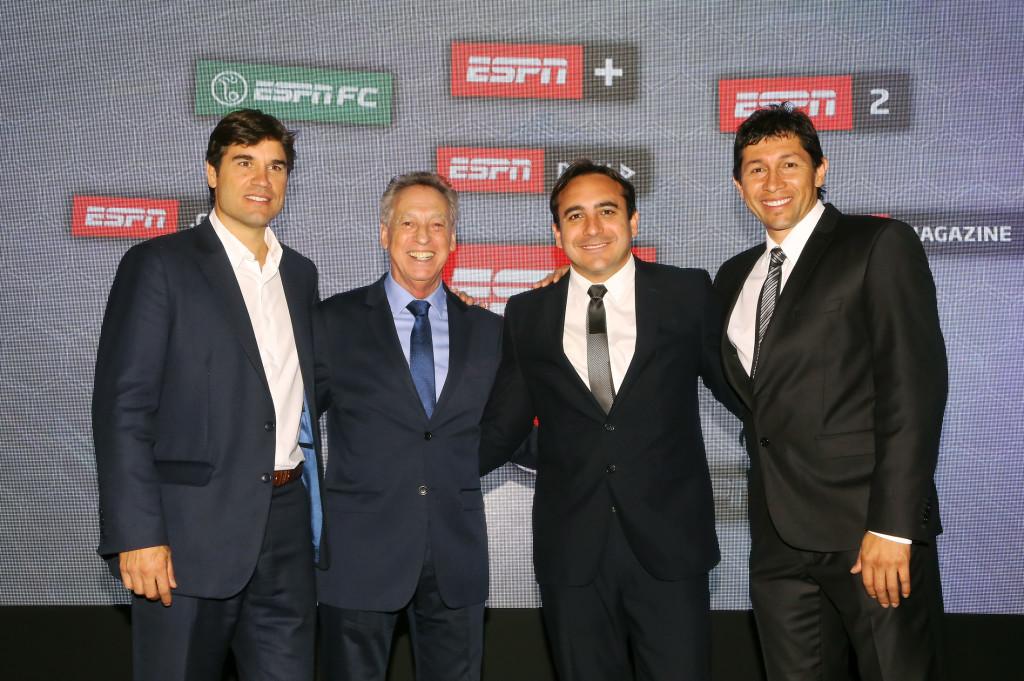 Federico Camerlinckx (Director ESPN Colombia), Quique Wolff, Mario Sabato y El Patrón Bermúdez.