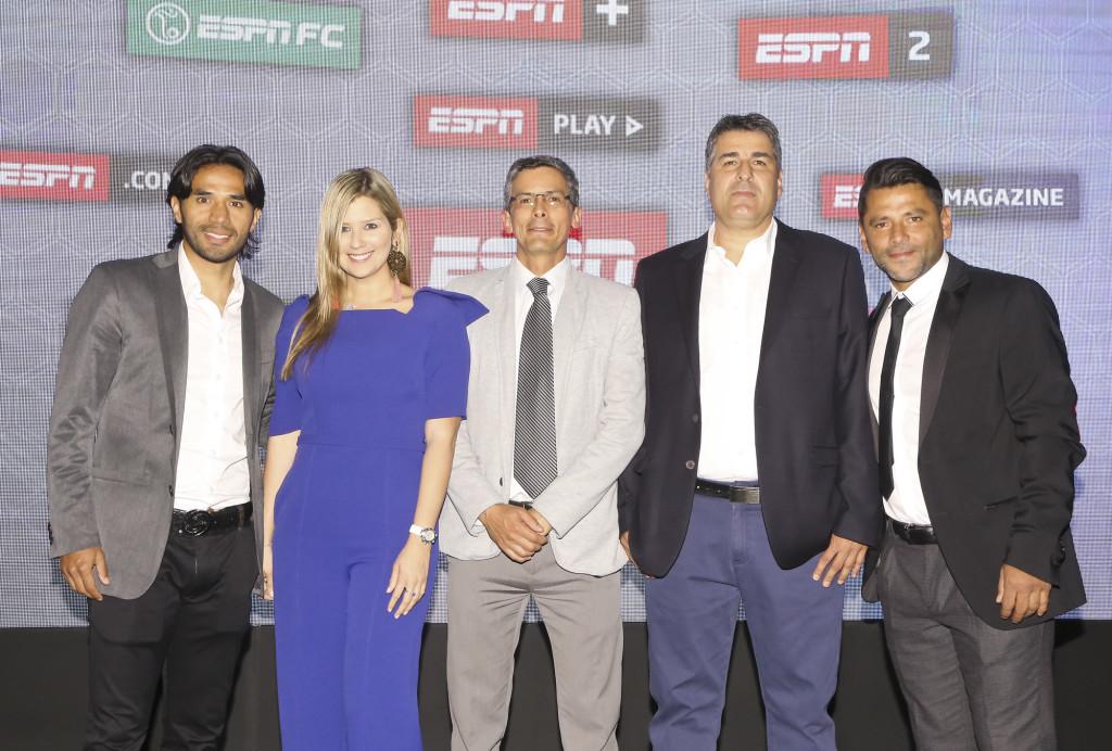 El equipo de ESPN FC, Fabián Vargas, Andrea Guerrero, Germán Arango, Santiago Escobar y Gerardo Bedoya.