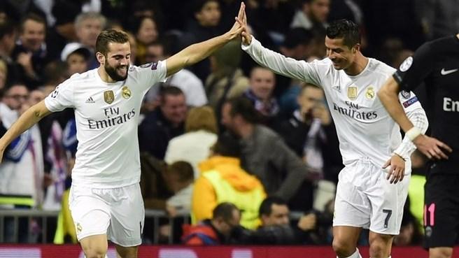 Nacho celebra su gol ante el Paris con Ronaldo ©AFP/Getty Images / Página de la UEFA