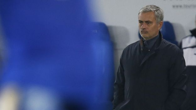 """Siento que mi trabajo ha sido traicionado"""", sentenció Mourinho tras el desastroso partido de los suyos que se tradujo en la derrota 2-1 ante el líder, que hace dos temporadas estaba en segunda división y que la pasada sufrió hasta el final para mantenerse. Foto Reuters /depor.pe"""
