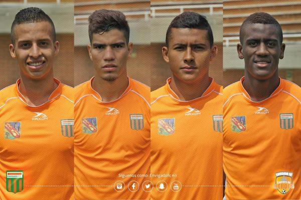 Michael López, Michael Nike Gómez (figura este sábado en la victoria 3x1 de Envigado ante Boyacá Chicó), Santiago Ruiz y Jorge Segura. El equipo naranja es el líder de la Liga Águila.