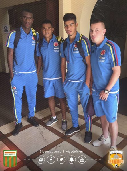 AREQUIPA: El aporte de Envigado FC a la Selección Colombia Sub-20 que este viernes venció 1 x 0 a Paraguay, gol de Michael Gómez (tercero de izquierda a derecha). Foto cuenta Facebook Envigado FC.
