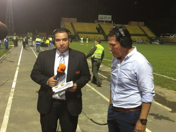 FLORIDABLANCA. Flabio Torres habló para Win al final de la victoria del Bucaramanga 1 x 0. No hubo rueda de prensa.  Foto @ABucaramanga.