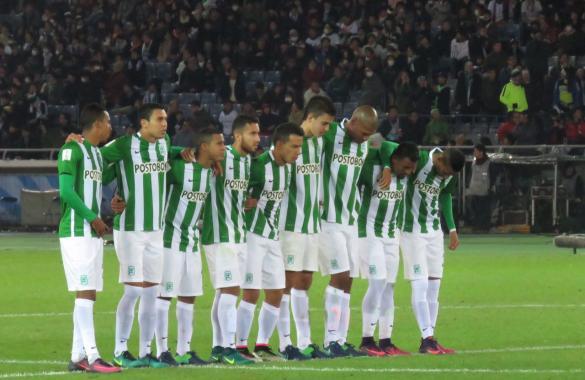 El grupo verde que estuvo en el cierre de la Copa Mundial de Clubes. Foto tomada de la página web del Atlético Nacional.