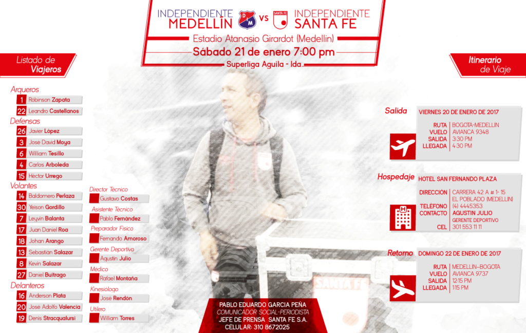 Santa Fe está en Medellín sin Omar Pérez ni Jonathan Gómez