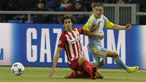 Empate a cero en Astaná que le sabe a poco al Atlético Madrid. Gran primera parte del equipo kazajo y de su punta Kabananga. En la segunda parte los rojiblancos tuvieron ocasiones pero no lograron perforar la portería local. Foto AP