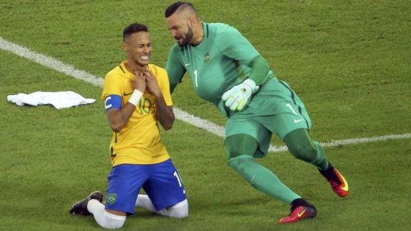RIO: Entre Neymar y el arquero  fueron determinantes este sábado (20) en la victoria frente a Alemania desde el punto penal. Foto Reuters, tomada del globoesporte.